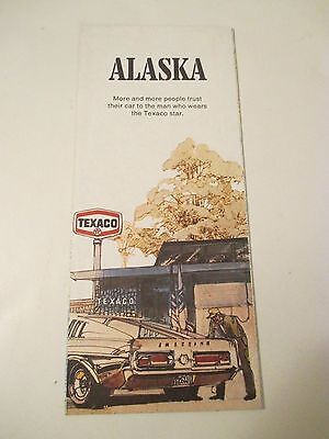 Vintage 1971 TEXACO ALASKA STATE STREET MAP Gas Service Station Road Map