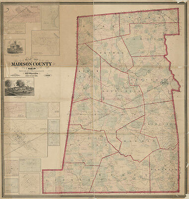 1862 Farm Line Map of Madison County Ohio West Jefferson