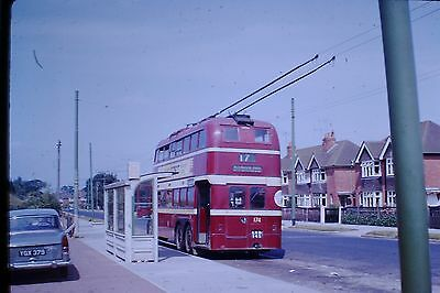 COLOUR SLIDE with copyright READING TROLLEYBUS 1960S