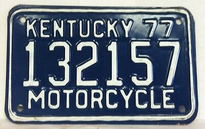 1977 KENTUCKY Motorcycle License Plate (132157)
