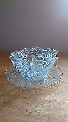 Glass handkerchief bowl blue and gold