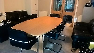 Boardroom Table Beech  2.4m x 1.2m with 6 Beautiful Black Leather Chairs