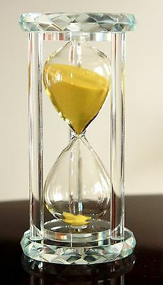 GORGEOUS FACETED CRYSTAL CAGED YELLOW SAND HOURGLASS TIMER in GIFT BOX. 30 min