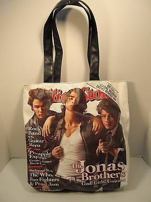 Authentic Rolling Stone Large Vinyl Canvas Tote Shoulder Bag Jonas Brothers