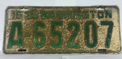 1938 WASHINGTON License Plate (A-65207)