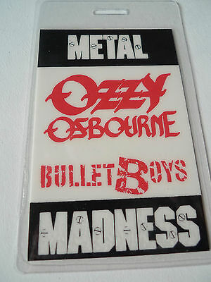 OZZY OSBOURNE BULLET BOYS Metal Madness All Access Laminated Backstage Pass