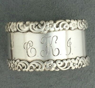 Sterling silver WHITING & CO Napkin Ring 283, holder flowers scrolls edge