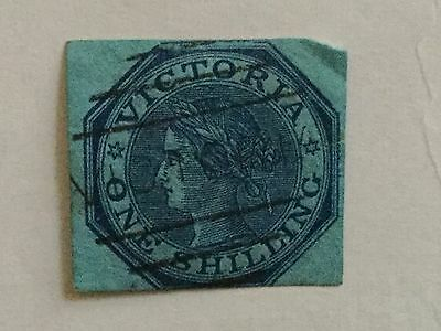 Victoria Australia Stamp - 1865  Used One Shilling Blue on Blue