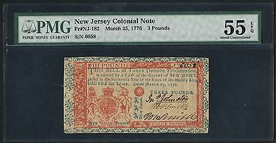 Nj-182 3 Pounds New Jersey Colonial Note Pmg -- 55 Epq About Unc -- Wlm2608