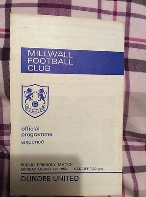 Millwall v Dundee United Pre Season Friendly 4th August 1969