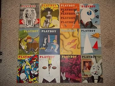 Vintage Complete 1954 Playboy Magazine Full Year Set All 12 Issues Rare!!!