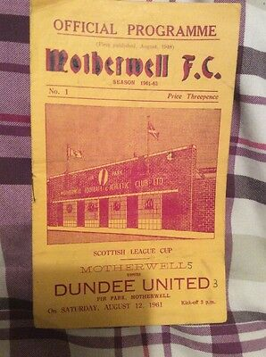 Motherwell v Dundee United Scottish League Cup 12th August 1961