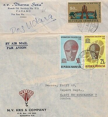 2 Covers Indonesia Indonesie Djakerta Padang To Sweden. L508