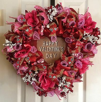 Heart Shaped Valentine's Day Ribbon Floral Deco Mesh Wreath Free Shipping!!