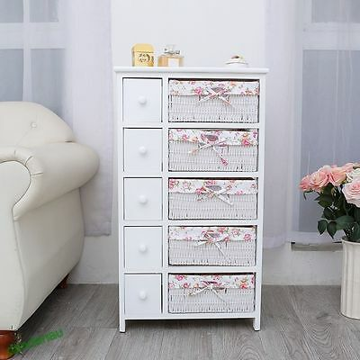 White Wooden 5 Drawers 5 Storage Baskets Unit Modern Furniture