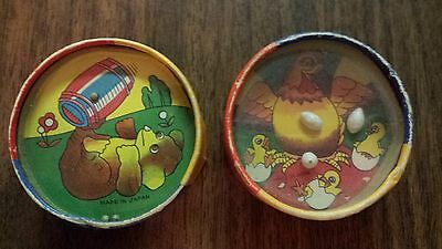 1950s Double-sided Dexterity Skill Puzzle Tin Ball in Hole Cardboard Game Japan
