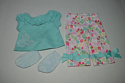 American Girl Doll Bitty Baby Twins Aqua Flower T-Shirt Gardening Capris Outfit
