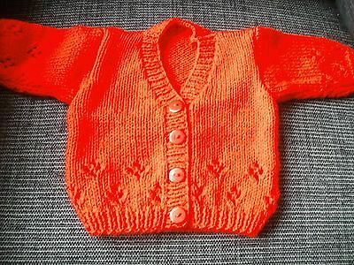 Handknit Red Baby Cardigan To Fit Boy/girl Aged 3 - 6 Months
