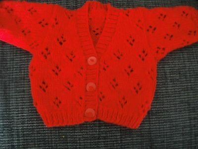 Handknit Red Baby Cardigan To Fit Boy/girl Aged 0 - 3 Months