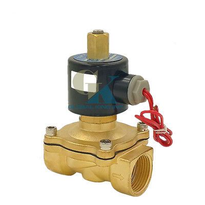 """220V AC G1/2"""" N/O Brass Electric Solenoid Valve Water Gas Air Normally Open Type"""