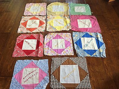 11 antique 1930's friendship signature quilt squares, 9 and 10 inch, Winston Mo,