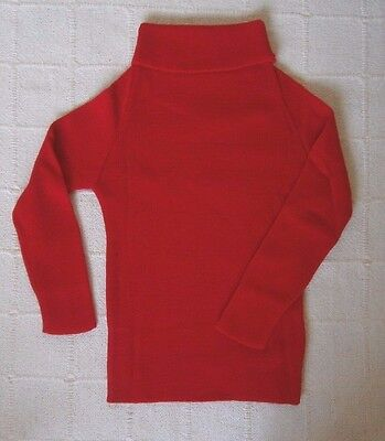 Vintage Polo-Neck Jumper - Age 6-7 Years Approx - Red ribbed Acrylic -  New