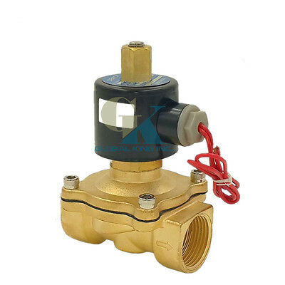 """12V DC G3/4"""" N/O Brass Electric Solenoid Valve Water Gas Air Normally Open Type"""
