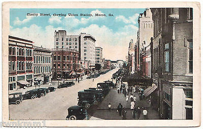 AK US USA Post Card Cherry Street showing Union Station Macon gel. 1921