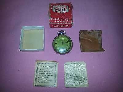 Vintage 1930's - 1940's Cascade Pocket Watch United Rexall Drug Store Works!!