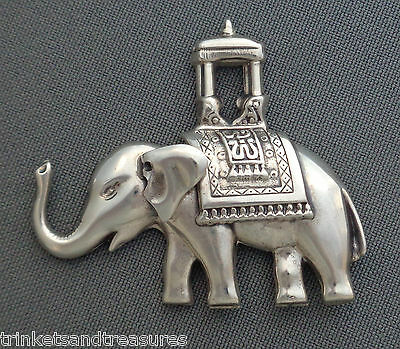 Vintage Sterling Silver Elephant Pin Brooch w/ India Asian Howdah Saddle by Lang