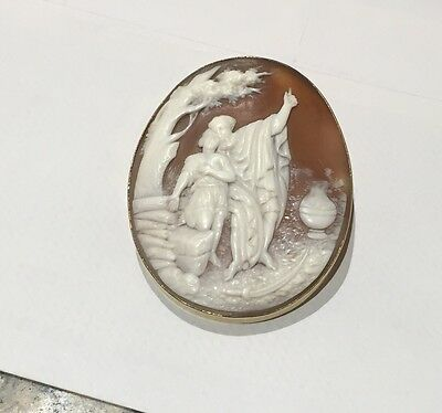 Large Victorian 18ct. Real Shell Cameo Brooch