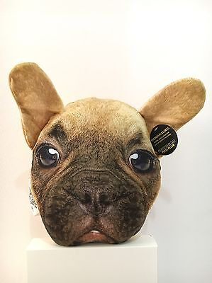 Throw Accent Pillow Real Dog Puppy Face FRENCH BULLDOG NWT Cute