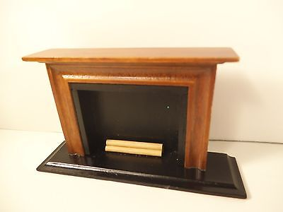 Vintage Dollhouse Furniture 1:12 Scale Fire Place Wooden Hearth With Logs Modern