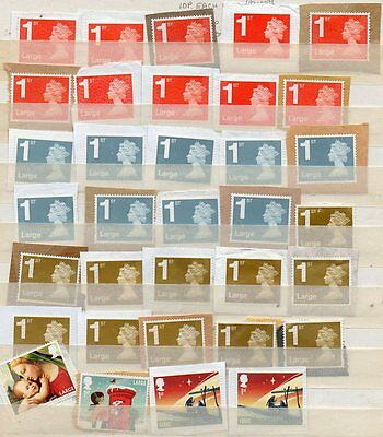 85) GB Large 2nd (30), 1st (30) Stamps Unfranked On-paper Charity Sale