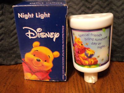 Disney Night Light Pooh Piglet Porcelain in Box
