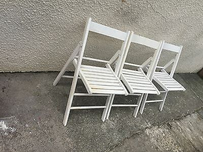 Folding Garden Patio Bistro Chairs White Vintage Pair Three Can Deliver