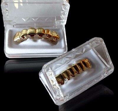 18k Gold Plated Hip Hop Teeth Grillz Caps Top & Bottom Grill Set WITH CASE