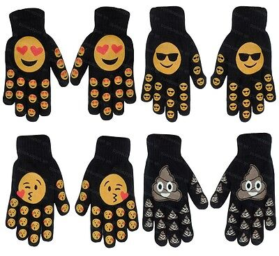 Childrens Boys Girls Kids Emoji Print Funny Face Knitted Gloves Winter Warm