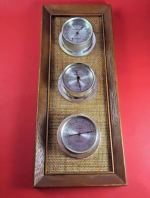 Vintage Springfield  Wall Brown Tan Wood Weather Station Barometer Thermometer