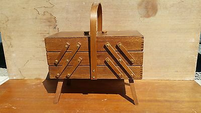 Vintage Wooden Foldout Dovetailed Cantilever Style Sewing Box Basket