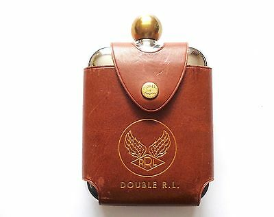 New Ralph Lauren RRL Silver with Brown Leather Sleeve Logo Flask Canteen Bottle