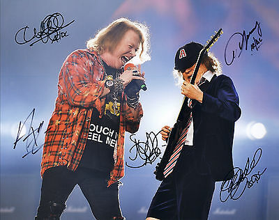 AC/DC Hand Signed By Entire Band Live In Concert 10x8 !