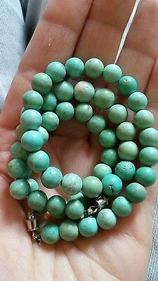 Antique Estate Chinese Jewelry Round Green Turquoise 7mm Beads Strand Necklace
