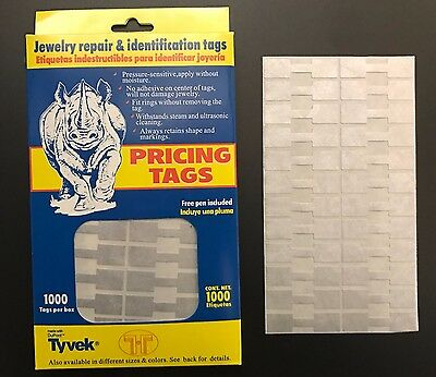 1000 PCS Silver Price Sticker Tags, Jewelry Square Barbell Labels Dumbbell tags