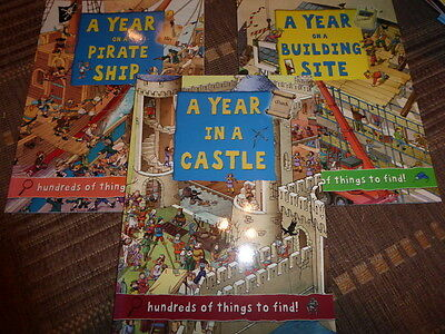 NEW 3 x A Year on...a Building Site, Pirate Ship, Castle Search & Find Books