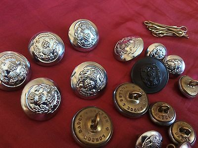Vintage Lot Police Uniform Buttons X 21 Some Stamped