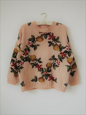 Hand knitted Acrylic Wool - Apple Jumper- L