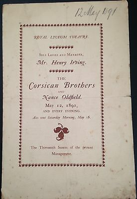 Rare: 1891.henry Irving. The Corsican Brothers. Royal Lyceum Theatre.