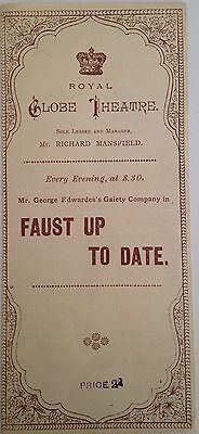1888/1889 Royal Globe Theatre.  Faust Up To Date.