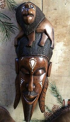 "African Tribal Mask ~ Wood Hand Carved Inlaid Design Wall Decor Lion 25"" Vintage"